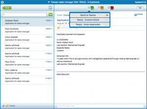 The Aptrack applicant tracking system interface